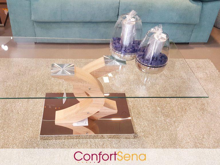 mesa de cristal, acero y madera en Granada