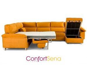 sofá cama con chaise longue y rinconera en Granada de la mejor calidad mejor precio y hecho a medida